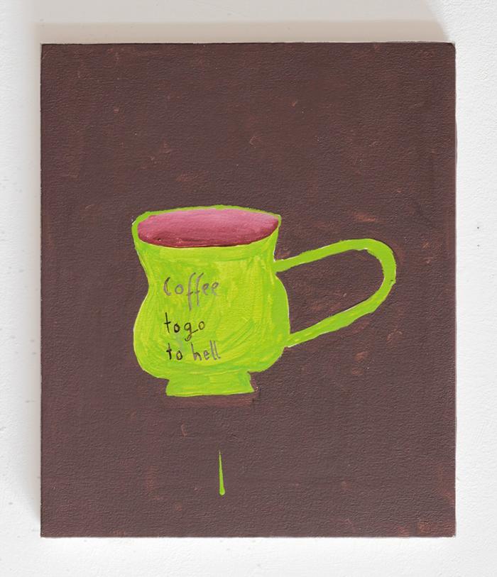 Nicolas Dupont - Coffee to go to hell - 2020 - Öl auf Leinwand - 40 x 30 cm