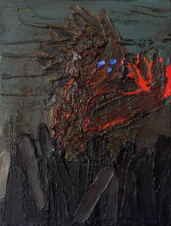 Matthias Haase - Hooligan - Figur mit Flamme - 2019 - Öl auf Leinwand - 35 x 30 cm