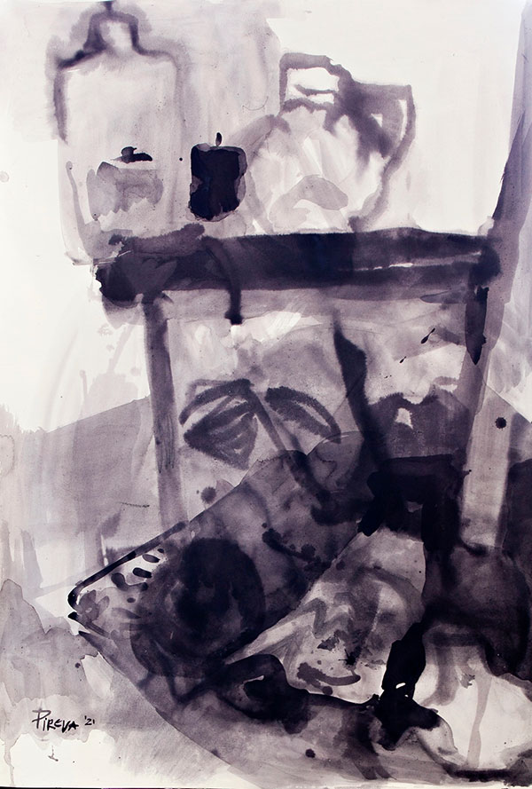 Ana Pireva - Stillleben - 2021 - Gallustinte auf Karton - 140 x 120 cm