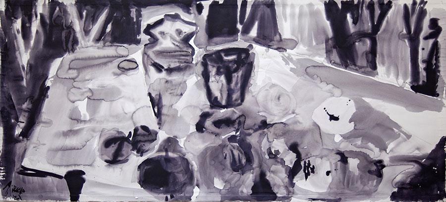 Ana Pireva - Garten Eden - 2021 - Gallustinte auf Papier - 100 x 200 cm