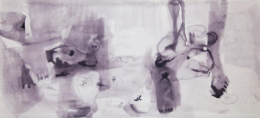 Ana Pireva - Umgebung - 2021 - Gallustinte auf Papier - 100 x 220 cm
