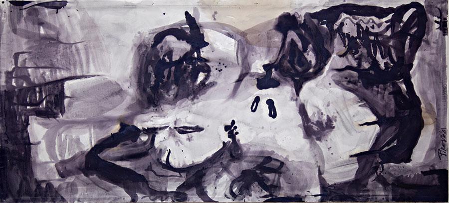 Ana Pireva - Fruchtschale - 2021 - Gallustinte auf Papier - 100 x 200 cm